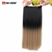 Wingee 5 Clips In Straight Hair Extensions Heat Resistant Synthetic 2 Tone Ombre Natural Black To Grey/Brown ForWomen Hair Clips