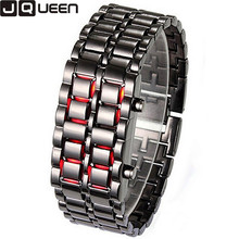 2017 New Fashion Men Gold Lava Iron Samurai Metal LED Faceless Bracelet Watch Lover Couple Wristwatch Steel Watches