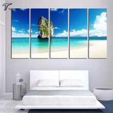 Large Canvas Wall Painting Tropical Island Beach Art Canvas Print Ocean View Pictures 5 Panel Wave on Beach Paintings Unframed