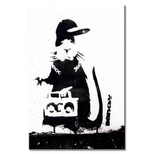 Single Picture Banksy Art Mouse With Radio Home Decor Painting Canvas Printings(China)