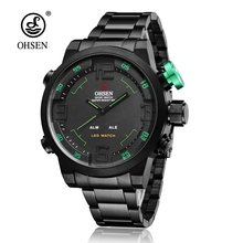 Fashion OHSEN Quartz Stainless Steel Watch Men Clock Male Anolog Digital LED Sport Wristwatches Male Relojoes Waterproof Horloge(China)