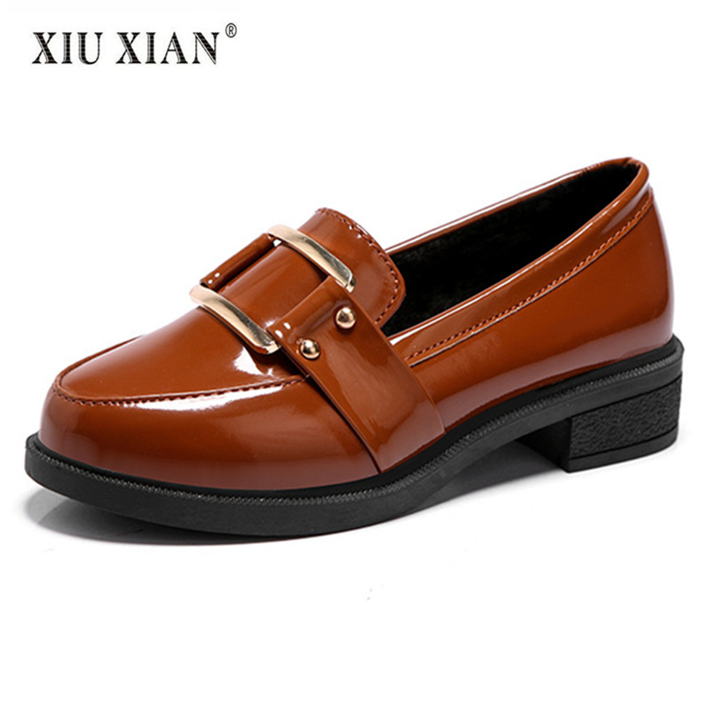 Patent Leather Shallow Slip on Comfortable Women Flats Round Toe Thick Sole 2018 Spring New Fashion Hot Sale College Lady Loafer<br>