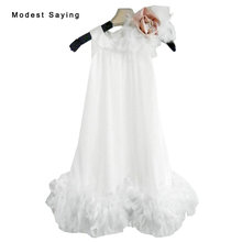 Lovely Ivory A-line Feather Flower Girl Dress 2017 with Flowers Knee-Length Baby kids Girl Beauty Pageant Party Prom Gowns YF23(China)