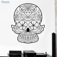 Cheap Sale Home Decor Skull Art Wall Stickers Flowers Vinyl Removable Customized Color Room Decoration Wallpaper Muraux K-11(China)
