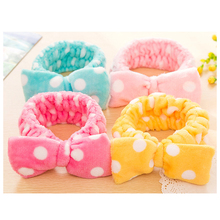 5pcs New Multifunctional Flannelette Bows Elastic Headband For Bath Shower Exercise Headwear Hair Accessories For Woman Hairband