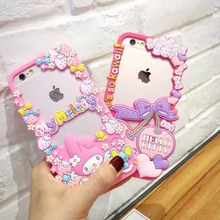 Japan Cute Cartoon 3D Hello Kitty My Melody Soft Silicon Frame With Dust Plug For Iphone6 6S 4.7inch(China)