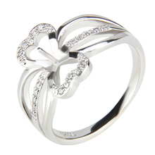 CLUCI bowknot Rings with brilliant flowers For girls Cute Sterling silver Ring Bague Femme zircons and pearl Ring(China)