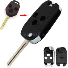 New Replacement 3 Button Uncut Blank Folding Flip Remote Key Fob Shell Smart Key Housing for Subaru Legacy Forester Outback
