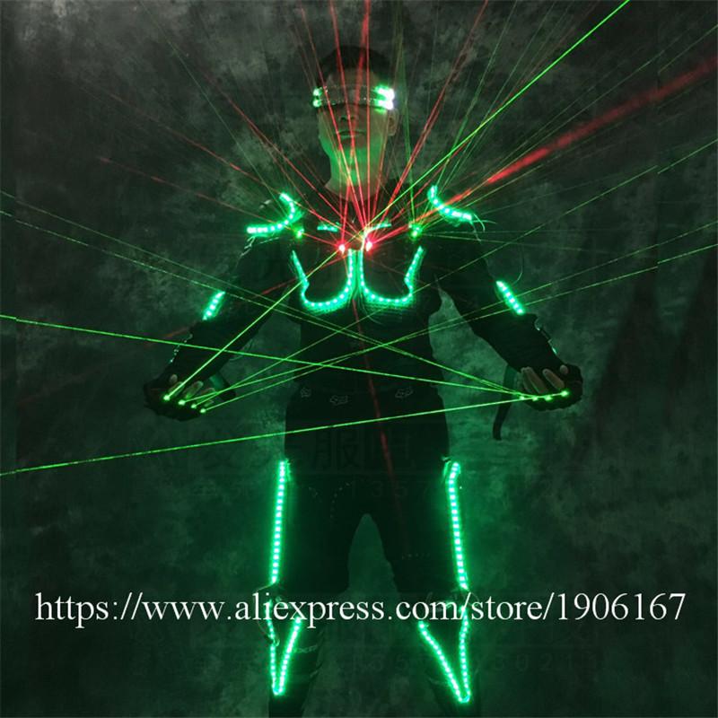 Ballroom dance led costumes luminous robot suit men led glasses green laser cloth dancer dj stage show wears laser gloves01