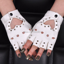 Pole Dancing Half-finger Gloves Women Lady Stud Spike Punk Rivets Mittens Performance Jazz Nightclub(China)