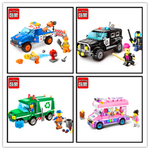 Police Road Wrecker Car Ice Cream Garbage Truck Model Building Block Toys Compatible Legoe ENLIGHTEN 4Pcs/Set Gift For Children(China)
