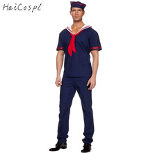 Plus Size Navy Costume Men Adult Sailor Cosplay Blue Worker Uniform Halloween Costumes  Carnival Festival Party Suit With Hat