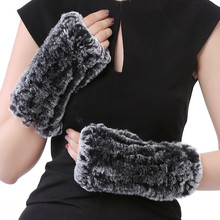 Valpeak Real Rex Rabbit Fur Gloves Women Fur Mittens Winter Warm Bunny Fur Gloves Fingerless Ladies Winter Rabbit Fur Mittens(China)