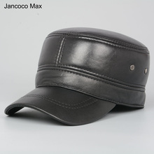 Jancoco Max High Quality Sheepskin Leather Hats Outdoor Sports Baseball Caps For Men Genuine Leather Adjustable Size S3033(China)