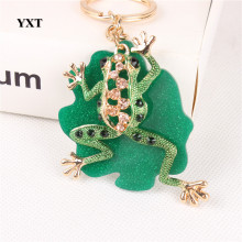 Cute Green Frog Leaves New Crystal Charm Purse Handbag Car Key Keyring Keychain Party Wedding Birthday Creative Gift(China)
