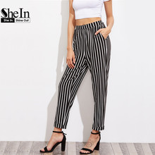SheIn Pleated Waistband Pinstripe Peg Pants With Hidden Pocket High Waist Trousers Elastic Waist Black and White Striped Pants
