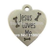 cheap jesus loves me heart shape dog tag cheap metal bones dog tag low price heart dog tag metal dogtag custom(China)