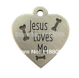 cheap jesus loves me heart shape dog tag cheap metal bones dog tag low price heart dog tag metal dogtag custom(China (Mainland))