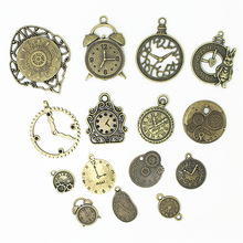 Sweet Bell 20pcs Antique bronze Metal Zinc Alloy Mixed Clock Charms Pendant For Jewelry Making Diy Decorative Clock Charms D1152