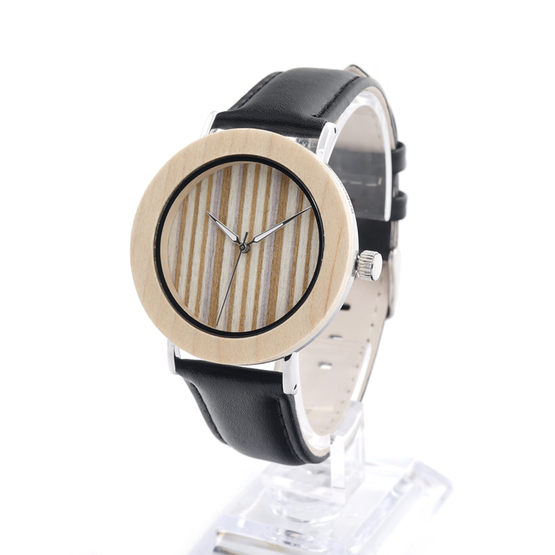 BOBO BIRD Combined Bamboo Wood Stainless Steel Wristwatch Mens Black Leather Causal Quartz  in Gift Box relogios masculino 2016<br><br>Aliexpress