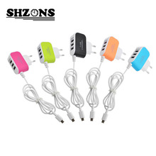 EU plug USB Charger 5V 3.1A 3USB Candy Color Glow Charger Travel Charger for Android Phone Charger with Micro USB Cable