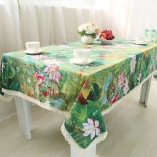Lotus Cotton Table Cloth Chinese Style Vintage Flower Rectangle Table Cover Green Tablecloth with Lace Edge  ZB-30
