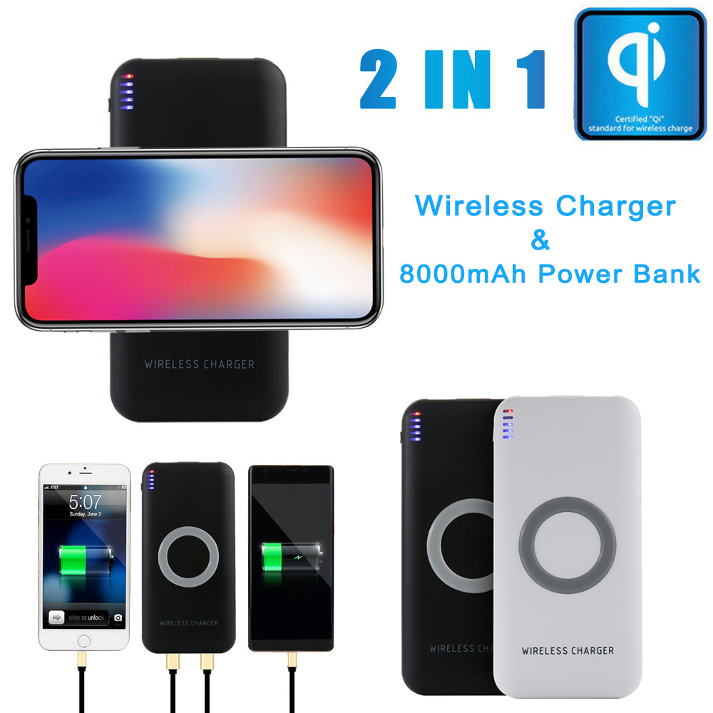 LANDFOX Universal Portable External USB Power Bank 8000mAh & Wireless Charger Qi standard 2 1 DC 5V 2.1A/1A Iphone X