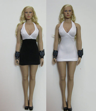 1/6 Sexy White & Black Stitching Miniskirt Female Dress For 12'' Girl HT PH Large/Medium  Breast Body Figures