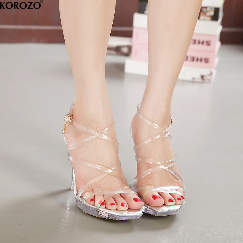 2017 Gladiator Sandals Women Stripper Shoes Sexy 10.5 CM High Clear Heels Sandals Platform Jelly Transparent Dress Party Pumps<br>