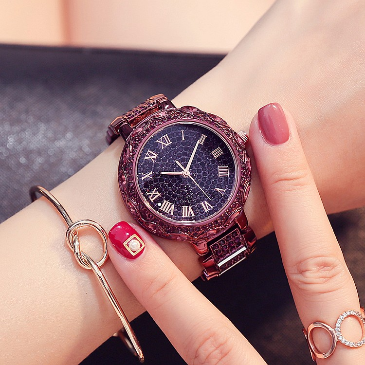 2017 New Purple Watches Top Quality Women Luxury Steel Full Rhinestone Wristwatch Lady Crystal Dress Watches Female Quartz Watch<br>