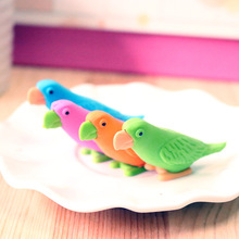 Free ship!1lot=48pc!New Parrot animal bird rubber eraser/ stationery for children students/gift toy eraser