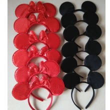 12pcs Hair Accessories Mickey Minnie Mouse Ears Headbands Solid Black & Red Sequins Bow Boy and Girl Headwear for Birthday Party