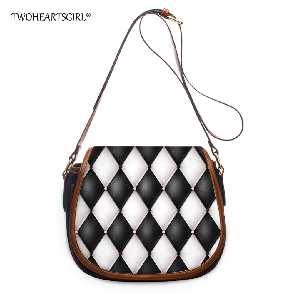 TWOHEARTSGIRL White and Black Messenger for Women Classic Plaid PU Leather Women Shoulder Bag Vintage Casual Flap Bag Bolsas<br>