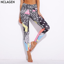 NCLAGEN 2018 New Women Fashion Leggins Stars Stripes Print Sexy Slim Fit Capris Elastic Fitness Workout Leggings For Woman(China)