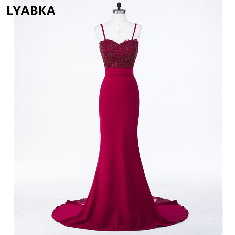 Burgundy Evening Dress Abendkleider Sweetheart Mermaid Prom Dress With Appliques Evening Dresses Long Dress 2019 Robe De Soiree