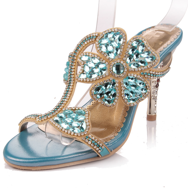 Summer Princess Crystal Sandals 2017 Flowers Sheepskin Ladies High Heels Slippers Fashion Party Dress Shoes Size 33-41<br><br>Aliexpress