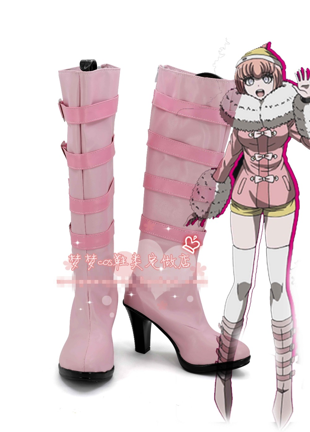 Free Shipping DANGANRONPA 3 Ruruka Ando Cosplay Shoes Halloween Lovely Pink High Boots Custom-made