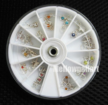 Fashion 24 Pcs Metallic Rhinestone Nail Art Designs Tools Acrylic Tips UV Gel Decorations Dangles Rings Wheel 12 Styles Hotting