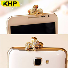 KHP Luxury Phone USB Dust Plug For iPhone Samsung LG iPad iPod Cute Rhinestone Golden Cartoon(China)