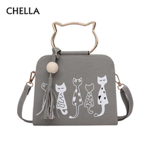Women Handbag Cat Pattern PU Leather Female Single Shoulder Bags Cute Kitty Black Messenger Bag Ladies Fashion Tote Bolsa SS0347(China)