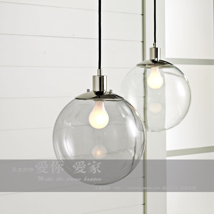 Modern brief fashion glass ball pendant lamp personalized living room chrome iron pendant light fixture e27 bulb lamp holder<br>