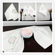 6pcs/Lot Table Napkins Cloth Folded Table Decoration for Hotel Restaurant Banquets Wedding Napkins White(China)