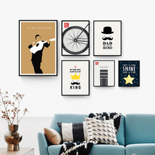 Modern Nordic Black White Wall Pictures Emerson Inspirational Quotes Guitar Performer Wheel Art Canvas print for Home Decor(China)