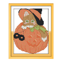 Joy Sunday cross stitch kits diy Pumpkin Kt hat DMC14CT 11CT cotton fabric baby room childrenroom kid paintingfactory wholesale(China)