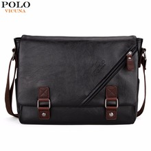 VICUNA POLO Promotional Men Messenger Bag Vintage Large Horizontal Black Satchel Bag With Double Belt Fashion Mens Handbag Hot(China)
