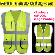 SFvest New Construction High visibility fluorescent yellow  safety reflective vest  company  logo printing free shipping