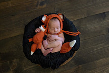 Crochet Pattern - Newborn Hat and Unattached Tail with Matching Amigurumi Fox Plush,  Fox Photo Prop, Newborn Bonnet Fox Hat