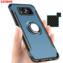 LITBOY Luxury Shockproof Case For Samsung Galaxy s8 case Metal Ring Holder Combo Phone Cover For Samsung S7 Note 8 S7 edge case(China)