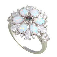 Rainbow  AAA Zirconia Wholesale &Retail Green fire Opal Silver Stamped Rings women fashion jewelry USA size #6#7#8#9 OR601A