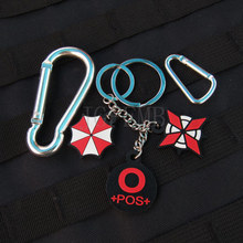 black background color design Resident Evil Umbrella Corporation Blood Type O POS  Keychain ring Military 3D PVC Patch PB365